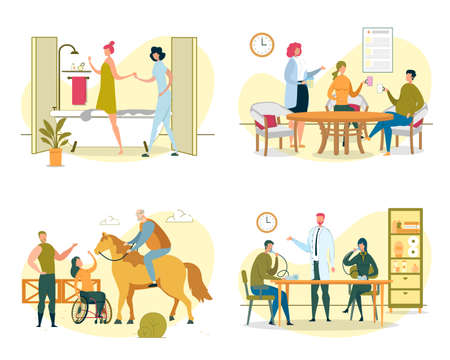 Woman Taking Bath, Phytotherapy, Couple Drinking Tea from Plant Extract or Herb. Disabled Woman Sitting in Wheelchair and Petting Horse. Patient with Inhaler Compressor Nebulizer Vector Illustration.