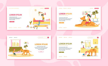 Girl and Boy Playing with Pets Website Design. Character Standing on Bed Playing with Mouse Toy, Sitting on Big Dog. Boy Playing with Animal. Baby Walking near Bowl Flat Cartoon Vector Illustration. Vettoriali