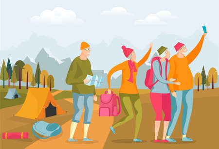 Elderly Character Tourist Having Trip on Nature. Old Woman and Man Taking Selfie. Couple with Equipment for Hiking as Tent, Map, Backpack. Active Lifestyle Flat Cratoon vector Illustration. Stock Illustratie