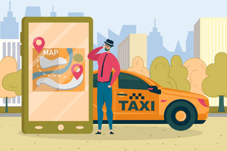 Stylish Bearded Brunet Wearing Felt Hat Dialing Taxi Service Hotline, Trying to Get Car. Map with Starting Point, Destination Station and Route in Smartphone. Big City with Skyscraper in Background.