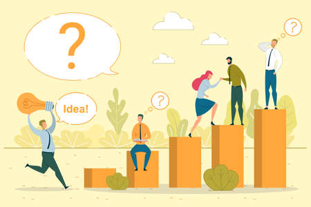 Idea Generation, Brainstorm Vector Illustration. Creative Coworkers Searching Solution Together Cartoon Characters. Problem Solution Development, Teamwork Concept. Business Innovation Metaphor