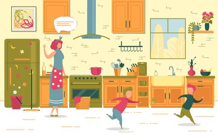 Mother Wagging Index Finger Scold Two Naughty Son Running and Playing Catch-up on Home Kitchen. Misbehavior Children and Parenthood. Kid Poor Discipline and Upset Mom. Vector Illustration