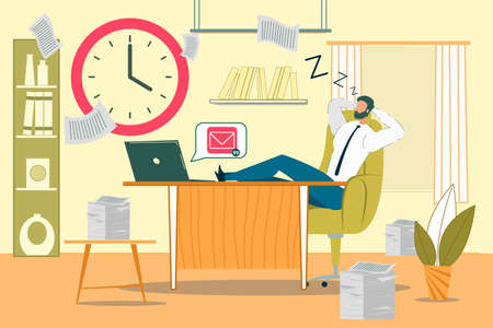 Sleeping Office Worker Flat Vector Illustration. Inefficient Company Employee Sleeping at Work Cartoon Character. Careless Businessman, Lazy Clerk Snoozing at Workplace. Irresponsible Attitude Illustration
