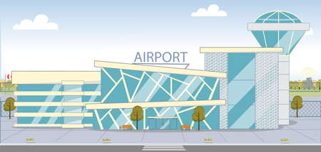 Modern City Airport Building Facade Exterior with Tower. Shiny Glass Walls Design. Architecture Construction for Trips and Travels. Aviation Infrastructure. Vector Flat Style illustration