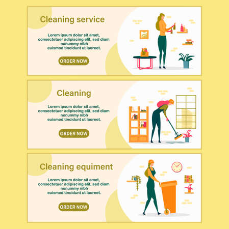 Cleaning Service Horizontal Banners Set. Woman with Equipment Sweeping and Mopping Floor with Mop, Throw Garbage and Dust Off in Apartment. Professional Company Worker Cartoon Flat Vector Illustration