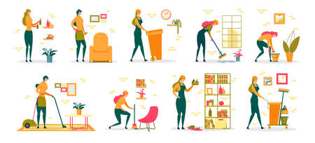 Woman at Household Activities, Professional Cleaning Service Worker or Housewife Cartoon Female Character Set. Domestic Chores and Housekeeping, Garbage Utilization. Flat Vector Illustration Isolated.