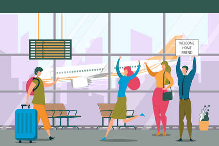 Friend Meeting in Airport Flat Vector Illustration. Male Flat Character with Suitcase, Traveler in Departure Lounge. People in Airlines Waiting Hall. Cartoon Man Holding Welcome Board