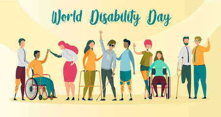 World Disability Day Banner or Card Flat Cartoon Vector Illustration. Invalid People, Blind Boy with Stick, Man and Woman on Wheelchairs, Prosthetic Hands and Legs. Person on Crutches.