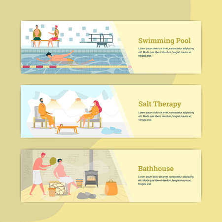 Swimming Pool, Salt Therapy, Bathhouse Banner. Hotel or Sanatorium Advertisement. Man Swimming, Couple in Bathrobe, Man Having Rest in Sauna or Steam House. People Relaxing Flat Vector Illustration. Ilustração