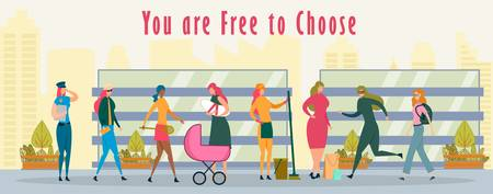 Woman Free to Choose Future Profession. Policewoman in Uniform, Tennis Player with Racket, Mother Holding Newborn Baby near Stroller, Cleaning Manager with Equipment Flat Cartoon Vector Illustration.