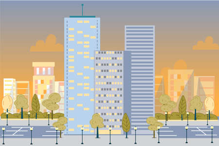Luxury City Metropolis Glass Skyscrapers Towers Architecture Buildings. Modern Construction over Downtown Landscape. Car Parking Space, Street Lights, Park Area. Vector Scenic View Illustration