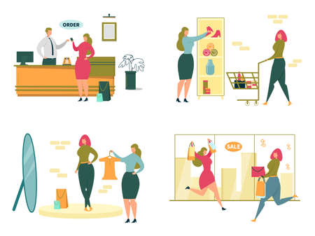 Fashion Shopping Scenes Set with Beautiful Women Cartoon Characters Purchasing Clothing. Sale and Discount Events, Season Price Reducing and Shopping Addiction. FLat Vector Illustration Isolated.