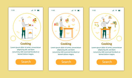 Cooking Process Mobile App Page Onboard Screen Set for Website. Chef in White Uniform Kneading Dough and Making Salad on Kitchen. Professional Restaurant Staff Working Cartoon Flat Vector Illustration