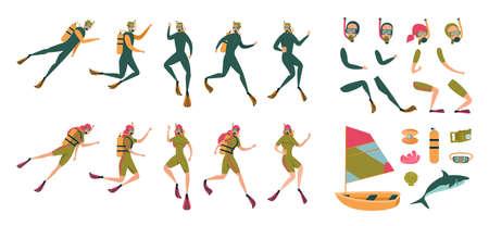 Elemento de personaje Hombre y mujer Scuba Diver. Personas en traje de neopreno, máscara de buceo con Aqualung en la espalda. Ilustración de la parte sobre inmersión, barco, mariscos con perla, arrecife, tiburón, equipo de buceo.