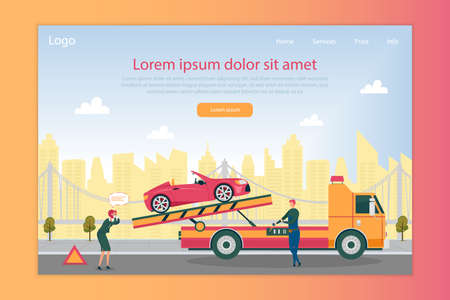 Breakdown Service for Vehicle, Providing Customer Immediate Help. Woman Driver in Despair, Watching Her Car Being Towed Away. Big City with Skyscraper and Bridge in Background. Landing Page Template.