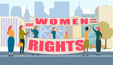Women Rights Protest Flat Cartoon Banner Vector Illustration. Girl Power Concept. Multiracial Women Standing with Signboards and Fists Raised. Fighting for Gender Equality and Feminism.