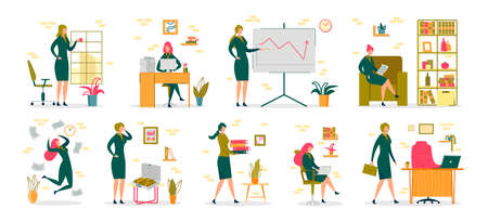Businesswoman in Office Activity and Occupation Scenes Set. Professional Woman or Successful Female Entrepreneur Cartoon Character Working at Company Workplace. Flat Vector Illustration Isolated.