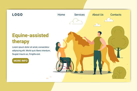 Equine Assisted Therapy Banner. Woman in Wheelchair Petting Horse. Animal Curing Handicapped Person. Rehabilitation for Disabled Character. Hippotherapy Flat Cartoon Vector Illustration.