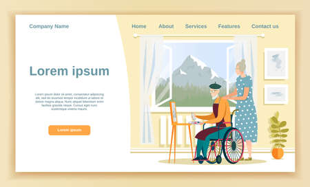 Aged Gentlemen in Wheelchair Painting, Sitting in Front Easel, His Wife Watching, Standing Next to Him. Cozy Room at Home or in Nursing Home. Window Facing Mountain. Landing Page with Copy Space.