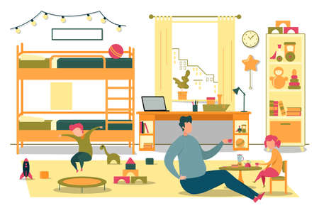 Happy Father Playing with Cheerful Kid in Bedroom Ilustracja