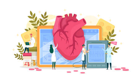 Research Cardiogram Data, Heart Disease Diagnosis. Woman Doctor Palpate Large Organ. Medical Worker Standing by Big Electronic Device and Looking at Cardiogram Result. Man Write Research into Laptop.