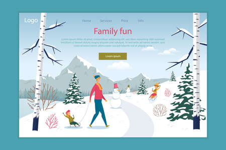 Family Fun in Winter Park or Forest Landing Page. Online Service Offer Happy Seasonal Active Recreation. Father Day Pastime. Children Sledding. Mountain Resort Tour. Vector Illustration