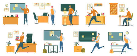 Nine School Teacher Professional Life Situations. One Working Day. Delivering Lecture to Students, Hurrying to Next Class, Getting Ready for Lessons, Carrying Books to Pupils, Changing Plans on Run. Stock Illustratie
