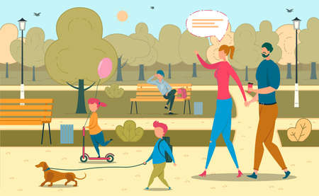 Father and Mother with Son, Daughter Kid, Dog Walking in Park Lifestyle. Girl Riding Scooter, Boy Leading Puppy on Leash. Teenager Rest on Bench on Backdrop. Family Pastime. Vector Illustration