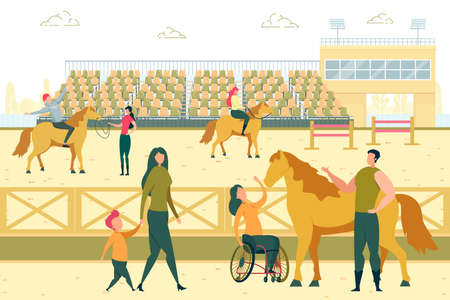 Handicapped Woman Petting Horse. Animal Therapy while Horseriding. Sport Training for Disabled Rehabilitation and Recovery. People Learning how to Ride, Hippotherapy Flat Cartoon Vector Illustration. Ilustración de vector