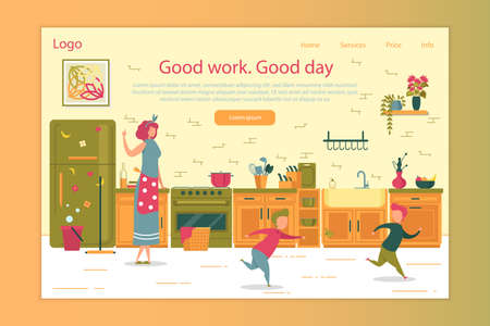 Successful Productive Good Housework and Kid Education Landing Page Design. Mother Standing on Kitchen Teaching Children to Keep Calm. Two Misbehavior Boy Running Playing Catch-up. Vector Illustration