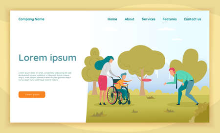 Fun Physical Activity in Open as Part Rehabilitation Program for Kid with Disability. Mom and Dad Playing  with Little Disabled Son, Sitting in Wheelchair. Landing Page with Copy Space.