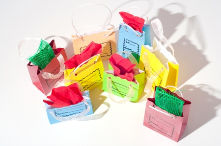 luxury goods: red green blue yellow package for gifts