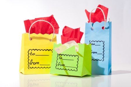 luxury goods: green blue yellow package for gifts Stock Photo