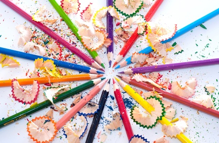 Colored pencil as rainbow in circle Stock Photo - 11510353