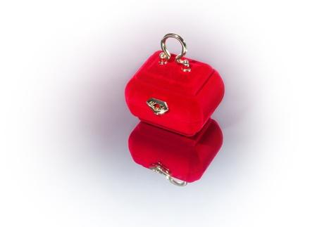 velvety: red velvety casket for jewels on the mirror