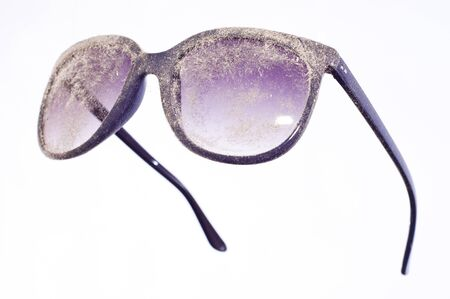 miry: dusty lenses of blue glasses Stock Photo
