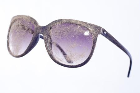 miry: dusty lenses of blue glasses Stock Photo