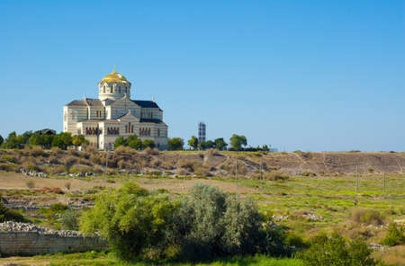 territories: The Vladimir cathedral in the old city of Chersonese on territories of Sevastopol, the Crimea, Ukraine