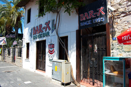 known: club  X-BAR  on the known street of bars -  Barstreet  in the small resort town of Marmaris, Turkey Editorial