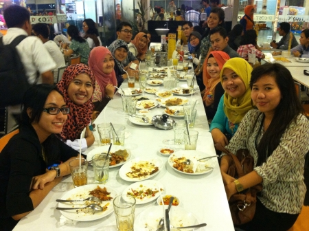 Friends breakfasting together