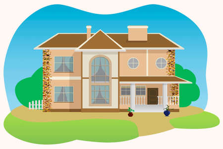 smokestack: Stylish cottage with large windows Illustration