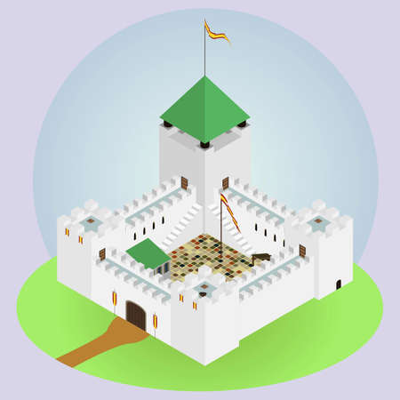 middleages: The castle with four towers Illustration