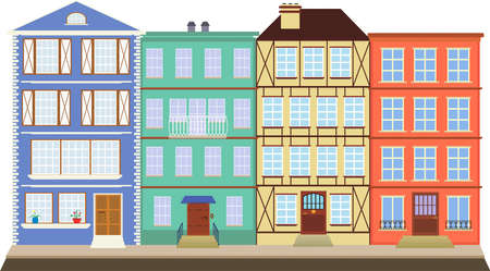 wicket door: Four colored houses on the old street. Four houses like books on a shelf, are in the historic city Illustration