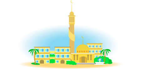 minaret: East view of the small town. Arab city in the desert mosque and minaret Illustration