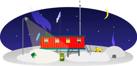 south pole: Research Station at the South Pole on a dark night in the light of the stars and the moon