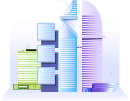 tall buildings: Business complex of four tall buildings in central business district