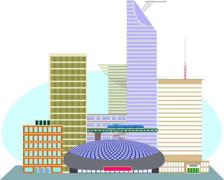 monorail: Illustration of an USA city to the business center, the stadium and the monorail