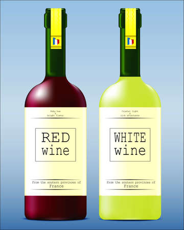cabernet: Glass bottles with red and white wine from France Illustration