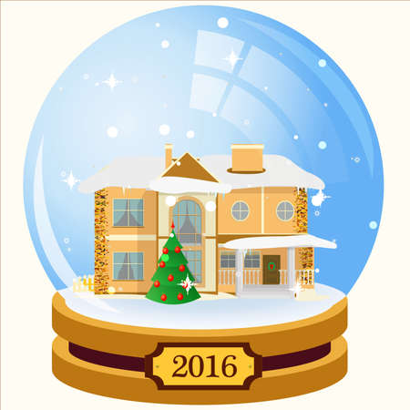 reflexion: Glass sphere with house and snowflakes