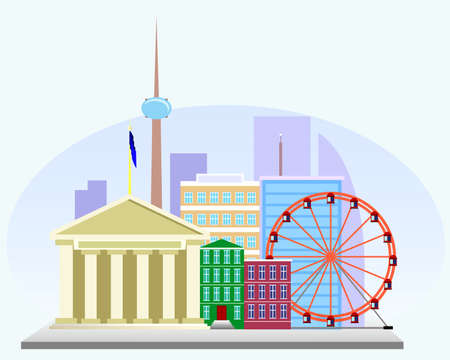tv tower: Illustration of European cities with a business center, a Ferris wheel and the TV tower Illustration